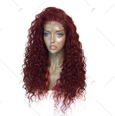 Unique Fluffy Curly Long Lace Frontal Synthetic Wig - WINE RED  Mobile