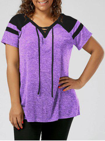 Plus Size Lace Up Raglan Sleeve Top - Black And Purple - 2xl