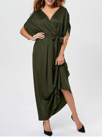 Cheap V Neck Surplice Party Long Dress ARMY GREEN