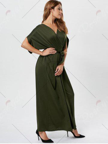 Store V Neck Surplice Party Long Dress - ARMY GREEN  Mobile