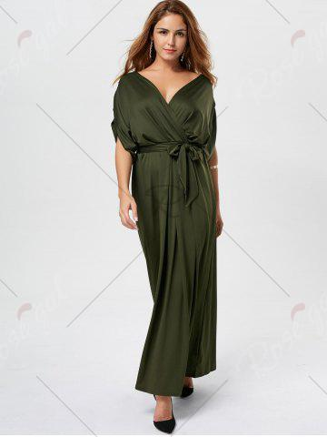 Outfit V Neck Surplice Party Long Dress - ARMY GREEN  Mobile