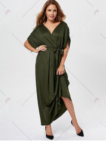Online V Neck Surplice Party Long Dress - ARMY GREEN  Mobile
