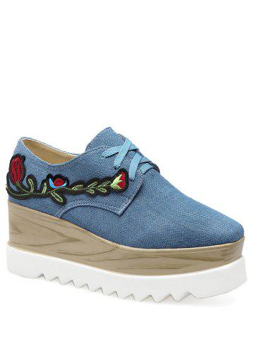New Square Toe Denim Embroidery Wedge Shoes DENIM BLUE 39