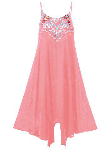 Plus Size Embroidery Summer Slip Dress - Pink - 4xl