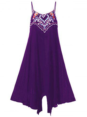Plus Size Embroidery Summer Slip Dress - Purple - 2xl