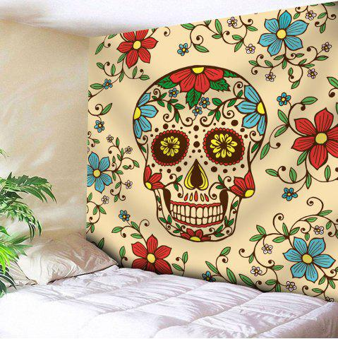 Wall Hanging Skull Flower Printed Tapestry - Yellow - W91 Inch * L71 Inch