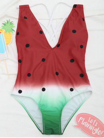 Affordable Cross Back Watermelon Swimsuit
