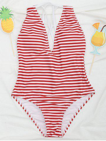 Chic Cross Back One Piece Striped Swimsuit