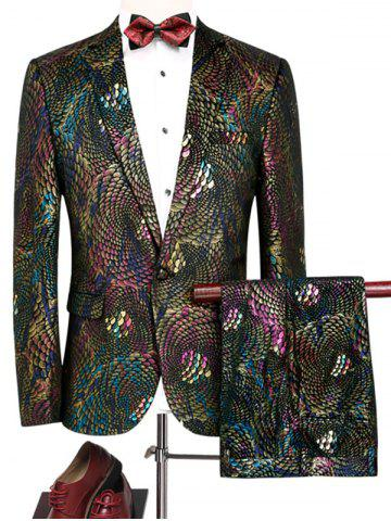 Chic Colorful Scales Pattern Blazer Suit