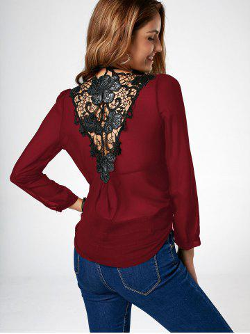 Lace Trim Asymmetric Chiffon Long Sleeve Blouse