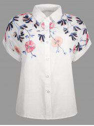 Short Sleeve Button Up Embroidery Shirt