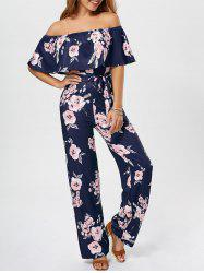 Ruffle Floral Off The Shoulder Jumpsuit - Bleu Violet