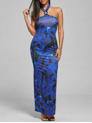 Halter Leaf Tropical Print Maxi Dress