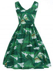 V Neck Tropical Leaf Print A Line Dress