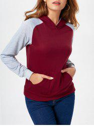 Two Tone Kangaroo Pocket Pullover Hoodie - WINE RED S