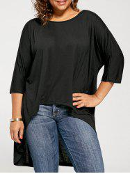 High Low Plus Size Tunic T-shirt - BLACK