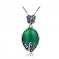 Faux Emerald Butterfly Oval Pendant Necklace