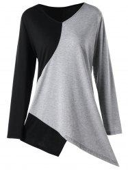 Plus Size Asymmetrical Two Tone Top