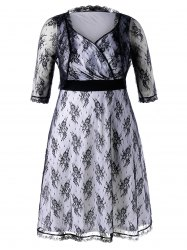 Plus Size High Waist Allover Lace Dress