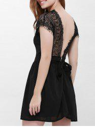 Lace Panel Back Cutout Mini Club Dress - BLACK L