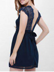 Lace Panel Back Cutout Mini Club Dress - BLUE