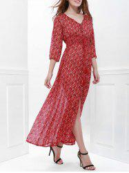 High Split Printed Maxi Dress with Sleeves -