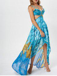 Cutout Printed Chiffon High Low Dress