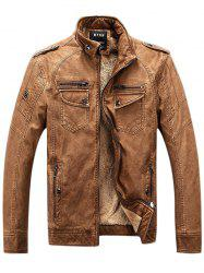 Zip Up Pockets Epaulet Fleece PU Leather Jacket - BROWN