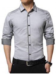Long Sleeve Plaid Panel Oblong Buttons Shirt