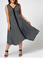 Plus Size V Neck Striped Sleeveless Dress - Black - 5xl