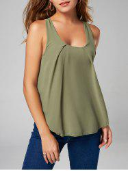 Stylish U Neck Chiffon Insert Tank Top For Women - ARMY GREEN