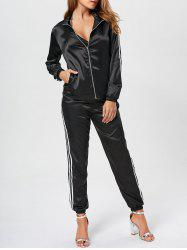Stripe Zip Up Jacket and Satin Pants Set - BLACK