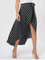 Asymmetrical High Waist Wrap Midi Skirt