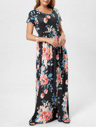 Pocket Floor Length Floral Print Dress