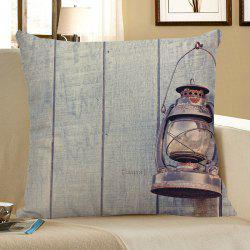 Wood Grain Oil Lamp Print Decorative Linen Pillow Case