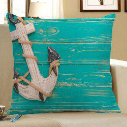 Anchor Wood Grain Print Decorative Linen Pillow Case - BLUE GREEN