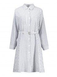 Plus Size Striped Long Sleeve Shirt Dress