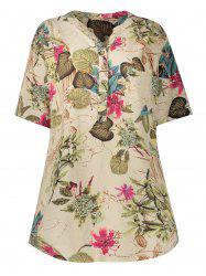 Linen Blend Printed Plus Size Tunic Dress -