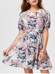 Puff Sleeve V Neck Floral Skater Dress
