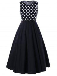 A Line Polka Dot Sleeveless Dress