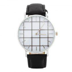 Plaid Face Faux Leather Strap Watch - BLACK