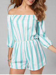 Striped Off The Shoulder Romper - Bande Bleu