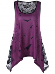 Bird Print Lace Panel Asymmetrical Tank Top - PURPLISH RED