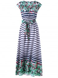 Tie Belt Striped and Floral Surplice Dress