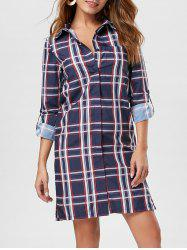 Long Sleeve Plaid Button Up Shirt Dress