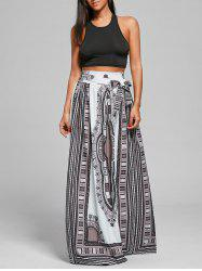 Belted Maxi Tribal Print Bohemian Skirt