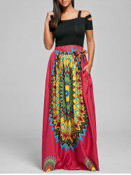 Print Maxi Bohemian Skirt with Belt