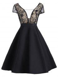 Vintage Lace Panel See Thru Fit and Flare Dress