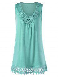 Crochet Trim Tunic Top - LAKE GREEN M
