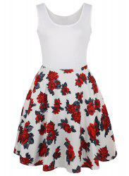 Vintage Floral Sleeveless Fit and Flare Dress